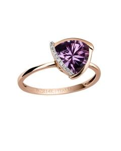 Anillo de Oro Rosa con 3 Puntos de Diamante y 151 Puntos de Amatista