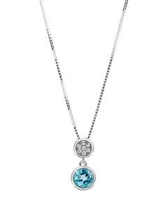 Dije de Oro Blanco con 2 Pts de Diamante y 33 Pts de Topacio Azul