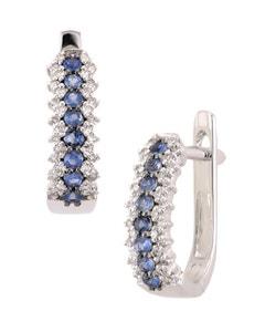 Arracadas de Oro Blanco 14K con 19 Pts. Diamante y ZáFiro