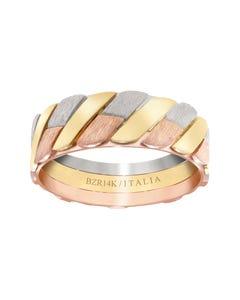 Argolla de Oro Amarillo, Blanco y Rosa Combinada
