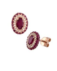 Aretes de Oro Rosa con 10 Pts . Diamante y Rubí