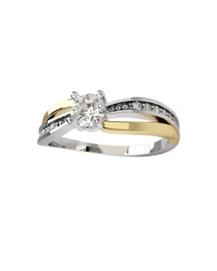 Anillo de Compromiso de Oro Blanco y Amarillo 14K con 20 Diamantes de .25 Puntos y 1 Diamante de 10 Puntos