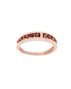 Anillo de Oro Rosa con 17 Puntos de Diamante y 76 Puntos de Granate
