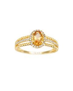 Anillo de Oro Amarillo con 12 Pts de Diamante y Citrina