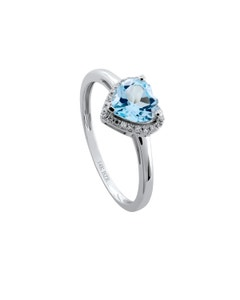 Anillo de Oro Blanco con 7 Pts Diamante y 92 Pts Topacio Azul