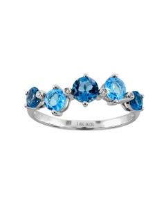 Anillo de Oro Blanco con 1 Punto de Diamante 68 Puntos Topacio Azul y 92 Puntos Topacio Azul London