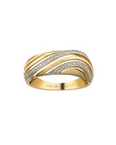 Anillo de Oro Amarillo con 14 Puntos de Diamante