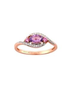 Anillo de Oro Rosa con 7 Puntos Diamante. 8 Puntos Zafiro Rosa y 38 Puntos Amatista