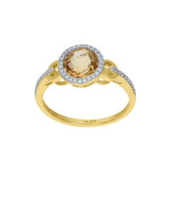 ANILLO DE ORO AMARILLO 14K CON 11PTS DE DIAMANTE (G-H) (VS1-VS2) Y CITRINA