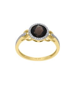 ANILLO ORO AMARILLO 14K CON 11PTS DE DIAMANTE Y SMOKY