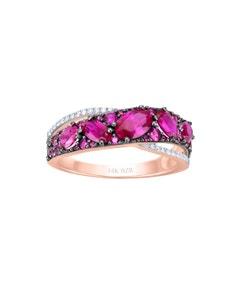 Anillo de Oro Rosa 14K con 8 Pts de Diamante y Rubi