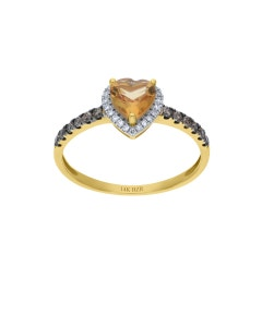 ANILLO DE ORO AMARILLO 14K CON 25PTS DE DIAMANTE BLANCO Y CAFE CON CITRINA