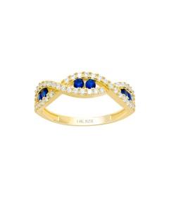 Anillo de Oro Amarillo con Zirconias y Piedras Azules