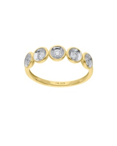 Anillo de Oro Amarillo 14K con 30 Pts de Diamante (G-H) (Vs1-Vs2)