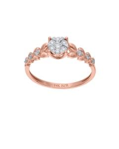 Anillo de Oro Rosa 14K con 24 Pts de Diamante (G-H) (Vs1-Vs2)