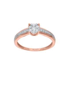 Anillo de Oro Rosa 14K con 28 Pts de Diamante (G-H) (Vs1-Vs2)