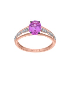 Anillo de Oro Rosa 14K con 6Pts de Diamante (G-H) (Vs1-Vs2) con Zafiro Rosa
