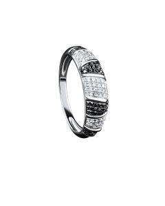 Anillo de Oro Blanco 14K con 31 Pts de Diamante Blanco y Negro