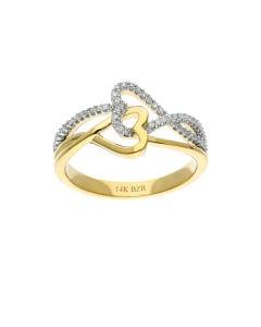 Anillo Oro Amarillo Con Platinado 14K C/15 Pts De Diamante