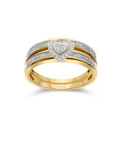 Duo De Anillos De Oro Amarillo 14K Con 21Pts De Diamante (Vs1-Vs2) (G-H)