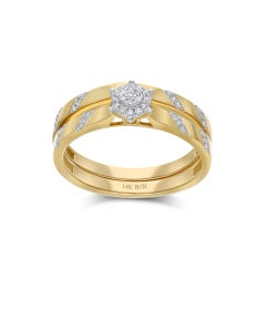 Duo De Anillos De Oro Amarillo 14K Con 8Pts De Diamante (Vs1-Vs2) (G-H)