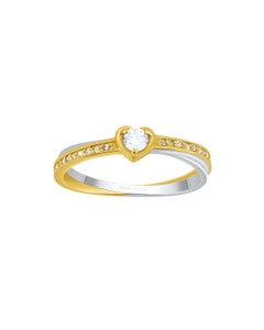 Anillo de Oro Amarillo y Blanco con Diamante de 10 Pts y 20 Diamante de .25