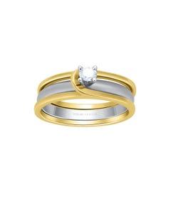 Anillo de Compromiso Solitario de Oro Blanco y Amarillo Diamante 15 Puntos