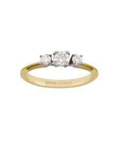 Anillo de Oro Amarillo y Blanco con un Diamante de 35 pts y dos de 10 pts