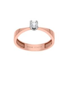 Anillo Solitario 14k Oro Rosa Con 25 Puntos De Diamante