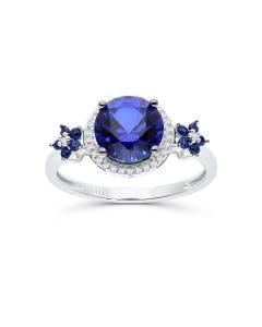 Anillo De Oro Blanco 14K Con 8Pts De Diamante Y Zafiro Azul