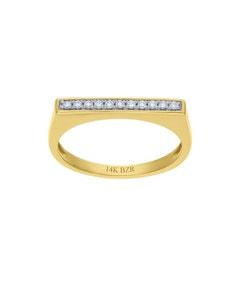 Anillo de Oro Amarillo 14K con 10Pts de Diamante (G-H) (Vs1-Vs2)