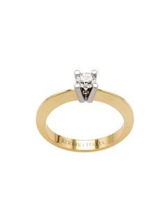 Anillo de Compromiso Solitario Oro Amarillo y Blanco con 30 Pts de Diamante