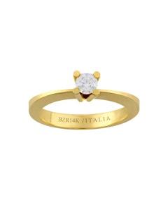 Anillo de Compromiso Solitario de Oro Amarillo con 25 Puntos de Diamante