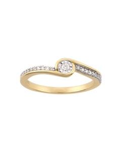 Anillo de Oro Amarillo Platinado con 15 Pts de Diamante