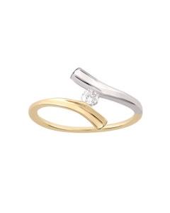 Anillo de Compromiso Solitario de Oro Blanco y Amarillo Diamante 10 Puntos
