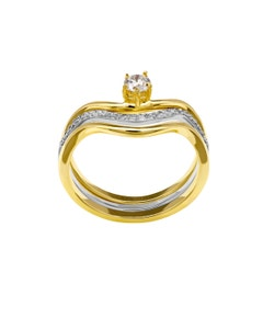 Anillo de Compromiso Oro Amarillo y Blanco con 26 Diamantes de .25 Puntos y 1 Diamante de 16 Puntos