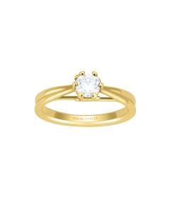 Anillo de Compromiso Solitario de Oro Amarillo con 1 Diamante de 50 Puntos