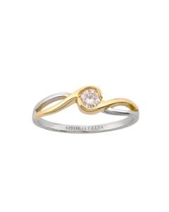 Anillo de Compromiso Solitario de Oro Blanco y Amarillo con Un Diamante de 20 Puntos