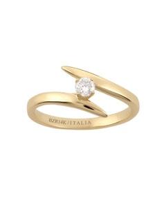 Anillo de Compromiso Solitario de Oro Amarillo con Un Diamante de 15 Puntos