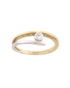 Anillo de Compromiso Solitario de Oro Blanco y Amarillo con Diamante 7 Puntos