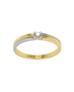 Anillo de Compromiso Solitario de Oro Amarillo y Blanco Diamante 7 Puntos
