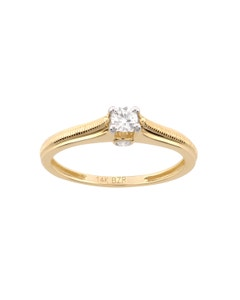 Anillo de Oro Amarillo con 20 Pts Diamante con Platinado
