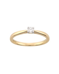 Anillo de Compromiso Solitario de Oro Amarillo con 12 Puntos de Diamante