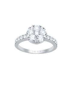 Anillo de Oro Blanco 14K con 114Pts de Diamante