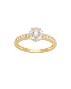 Anillo de Oro Amarillo 14K con 48Pts de Diamante