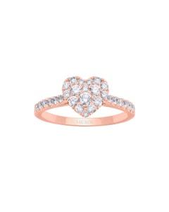 Anillo de Oro Rosa 14K con 55Pts de Diamante