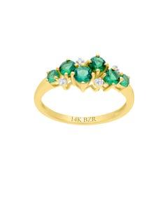 Anillo de Oro Amarillo 14K con 1 Pts de Diamante y Esmeralda
