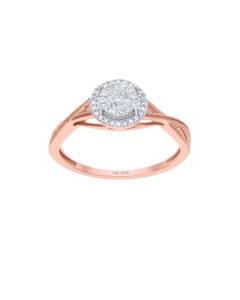Anillo de Oro Rosa 14K con 12 Pts de Diamante
