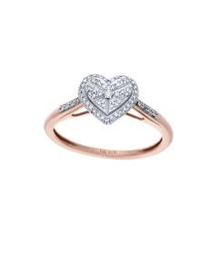 Anillo de Oro Rosa 14K con 14 Pts de Diamante