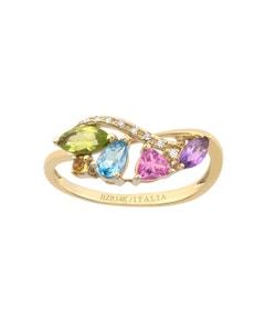 Anillo de Oro Amarillo con 3 Puntos Diamante y 90 Puntos Semipreciosa